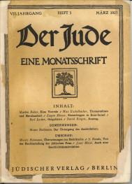 - Der Jude. Eine Monatsschrift. VII Jahrgang, Heft 3