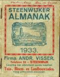 - Steenwijker Almanak voor het jaar 1933. Bevattende een juiste opgaaf van al de Kermissen, Jaar-, Vee- en Weekmarkten in Nederland, benevens van den op- en ondergang der Zon en Maan. 268ste Jaargang